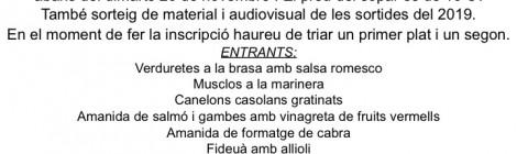 SOPAR FINAL DE TEMPORADA DEL CENTRE EXCURSIONISTA D'AVINYÓ – 30 de novembre 2019